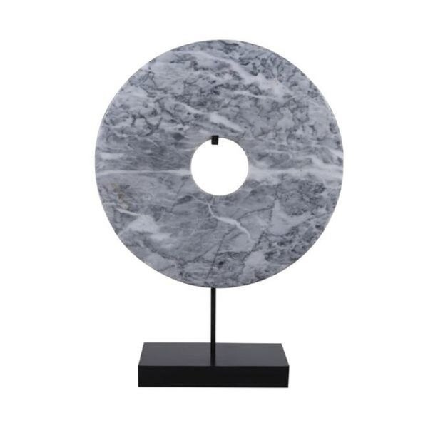 Lily's Living Jade Disk Statue With Base, 16 Inch Tall, Marble Grey
