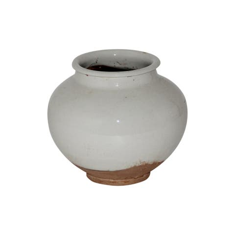 Lily's Living Ceramic Vintage Pot, Small, 6 Inch Tall, Off White (Size & Finish Vary)