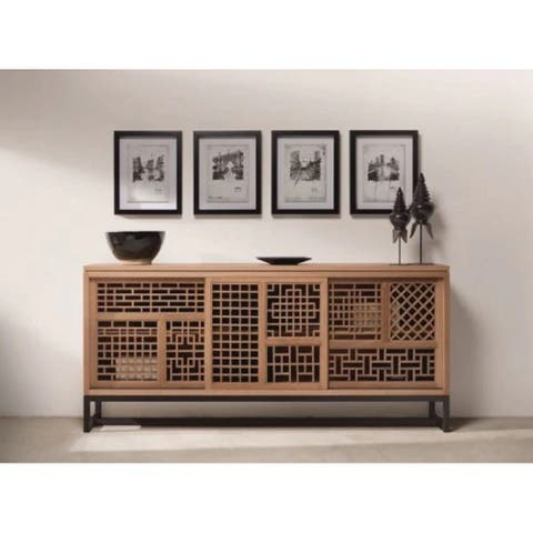 Lily's Living Oak Iron Carved Lattice Display Buffet With 3 Doors, 79 Inch Long, Brown