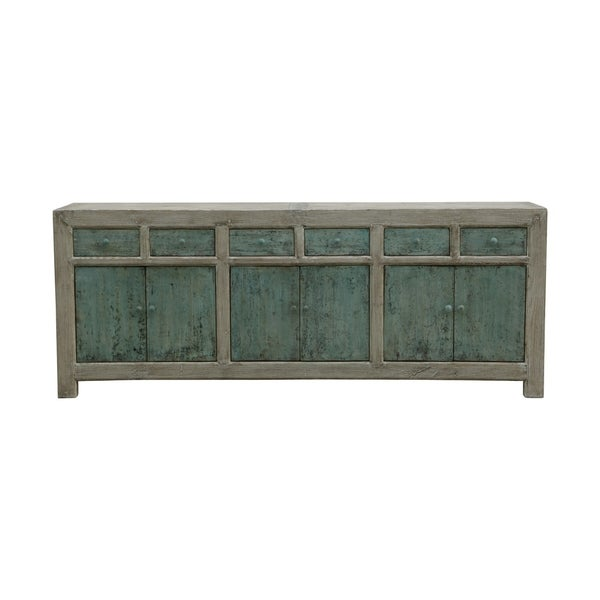 Lily's Living Reclaimed Wood Shandong Buffet With 6 Drawers, 35 Inch Tall, Soft Aqua Finish