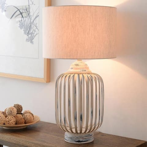 """Knett 27"""" Distressed Antique White Table Lamp"""