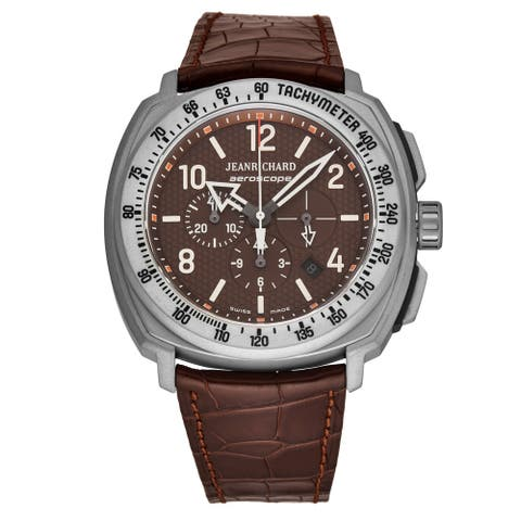 Jean Richard Men's 60650-21-008-002 'Aeroscope' Brown Dial Brown Leather Strap Chronograph Automatic Watch