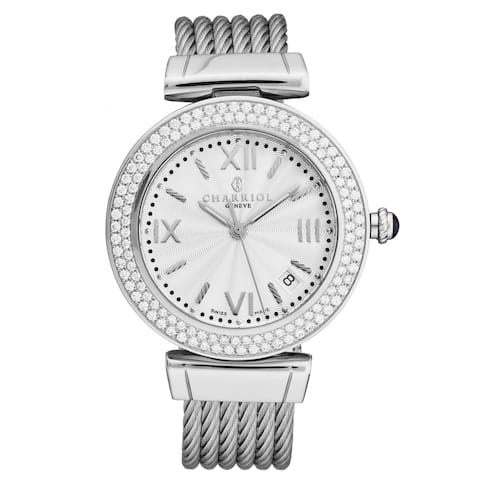 Charriol Women's AMSD.51.001 'Alexandre C' Silver Dial Stainless Steel Diamond Quartz Watch