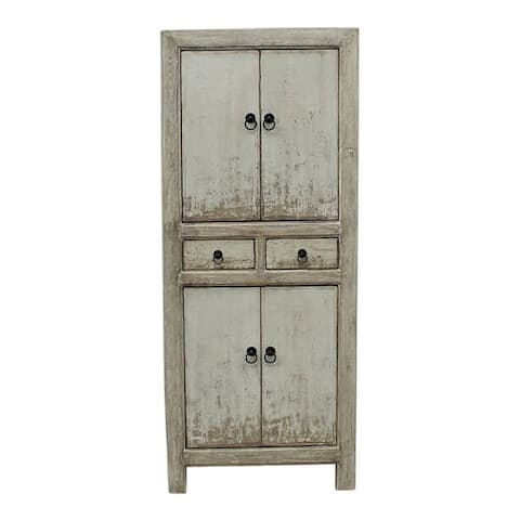 Lily's Living Reclaimed Wood Narrow Shandong Cabinet, 67 Inch Tall, Antique Off White