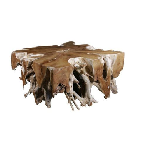 Lily's Living Block Square Teak Root Coffee Table, 47 Inch Long, Natural Finish