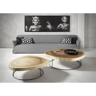 Lily's Living Bogong Large Round Acacia Coffee Table, 60 Inch Diameter, Natural Finish