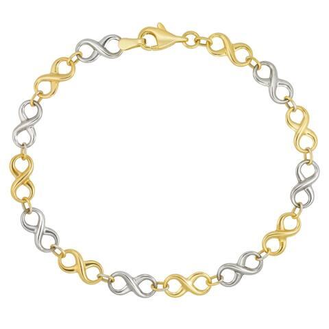 """Forever Last 10K Gold Bonded over Silver 7.5"""" Yellow """"Infinity"""" Bracelet"""