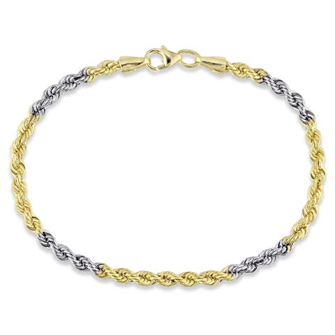 "Forever Last 10K Gold Bonded over Silver 7.25"" 2 Tone Hollow Rope 3.3MmBracelet"