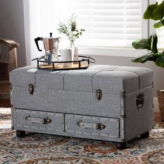 Flynn Modern Transitional Grey Upholstered Storage Trunk Ottoman