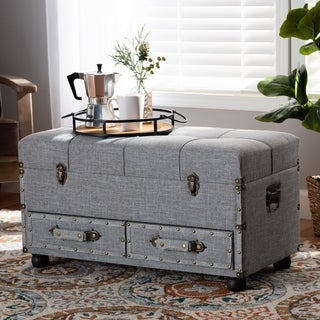 Flynn Modern Transitional Grey Upholstered Storage Trunk Ottoman