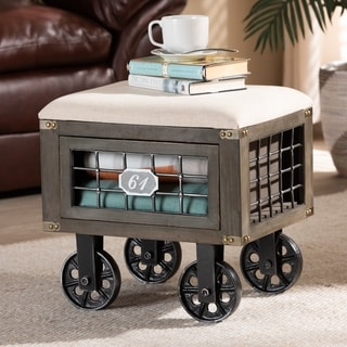 Harley Transitional Rustic Farmhouse Upholstered Storage Ottoman