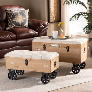 Finlay Transitional Rustic Farmhouse Upholstered Storage Ottoman Set