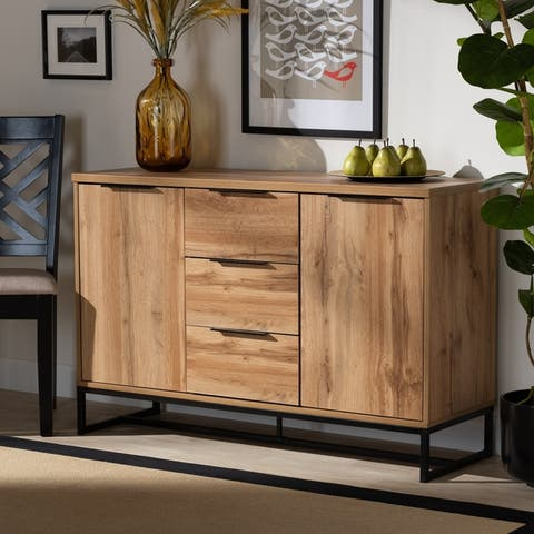 Carbon Loft Galloway Modern and Contemporary Industrial Oak Finished Sideboard Buffet - N/A