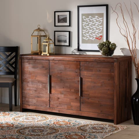 Torres Modern and Contemporary Brown Oak Finished Sideboard Buffet