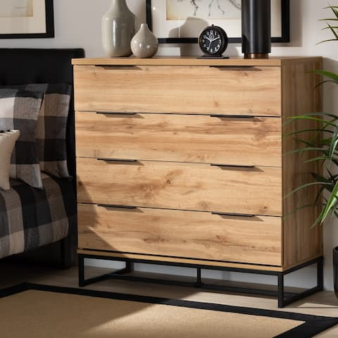 Reid Modern and Contemporary Industrial Oak Finished Wood Dresser