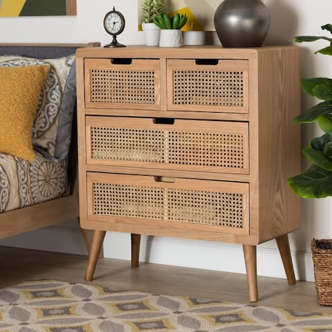 Carson Carrington Dafverud Modern Oak Finished Wood and Rattan Accent Chest