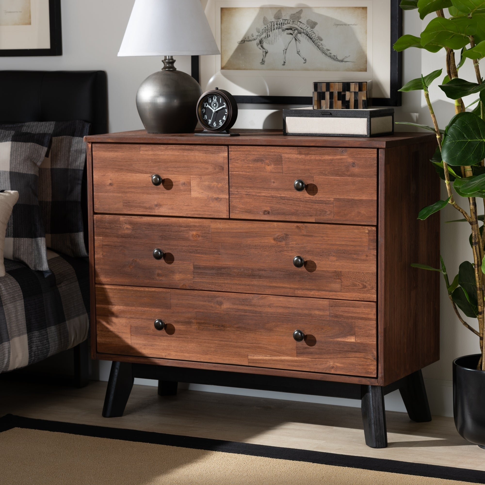 Contemporary Brown And Black Oak