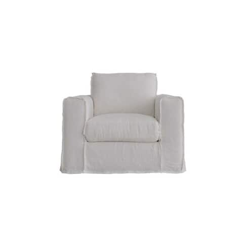 Lily's Living Peninsula Slipcovered Swivel Sofa Linen Chair, 30 Inch Tall, White Wash