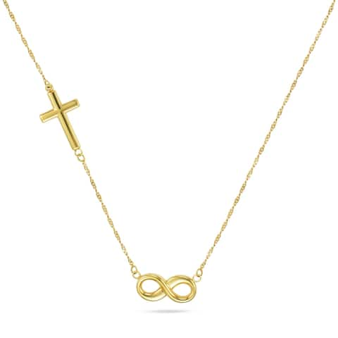 """Forever Last 10K Gold Bonded over Silver 17"""" """"Infinity/ Cross"""" Chain Necklace"""