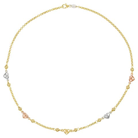 "Forever Last 10K Gold Bonded over Silver 17""Tri Color Heart /Bead Accent Necklace"