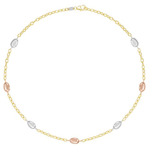 "Forever Last 10K Gold Bonded over Silver 17"" Fancy Bead Tri Color ChainBracelet"
