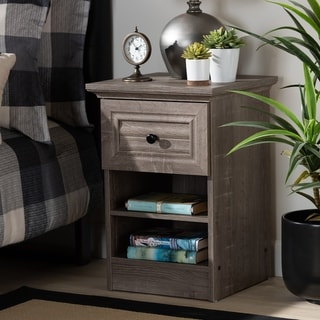 Dara Traditional Transitional Grey Brown Oak Finished Wood Nightstand
