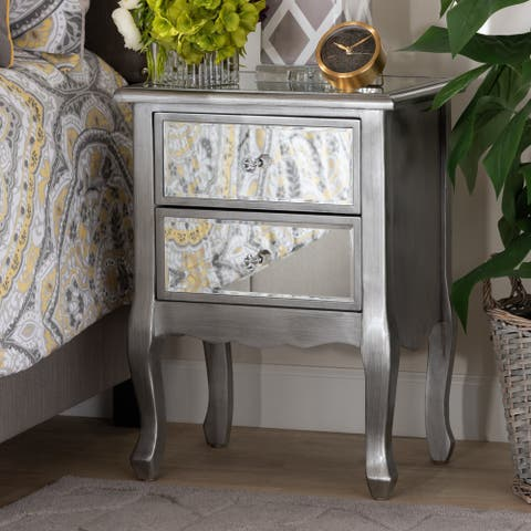 Silver Orchid Bruce Transitional Brushed Silver Nightstand