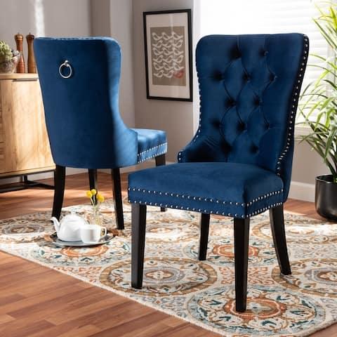 Copper Grove Dhamar Modern Velvet 2-piece Dining Chair Set