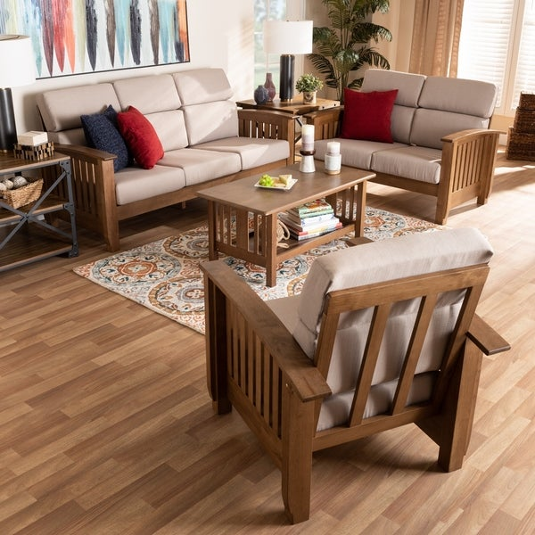Charlotte Modern Classic Mission Style 3-Piece Living Room Set