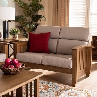 Charlotte Modern Classic Mission Style Upholstered Loveseat