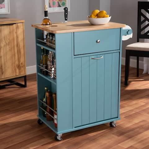 Copper Grove Hudaydah Modern Blue Kitchen Cart