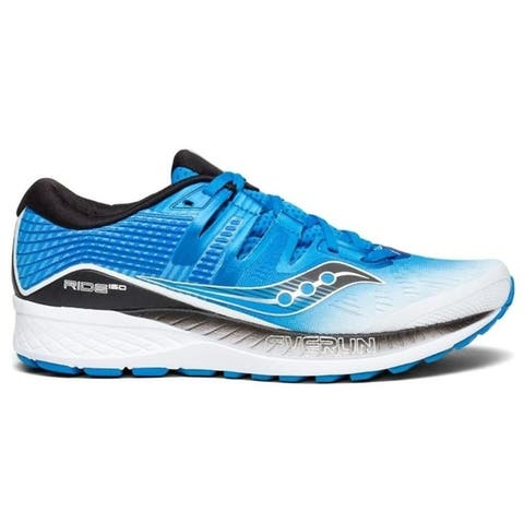 Saucony Mens Ride ISO Neutral Running Shoe Sneakers - White/Black/Blue - Size 9