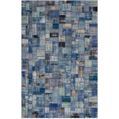 """Hand-knotted Color Patchwork Blue Wool Rug - 10'0"""" x 13'1"""""""