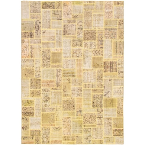 Hand-knotted Color Patchwork Yellow Wool Rug - 6'8 x 9'8
