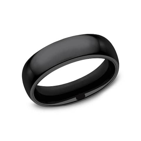 Men's 6mm Black Titanium High Polished Comfort Fit Classic Domed Band
