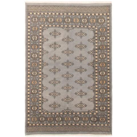Hand-knotted Peshawar Bokhara Grey, Ivory Wool Rug
