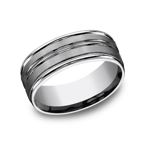 Men's 8mm Titanium Satin Finish Round Edge Channel Accent Comfort Fit Band