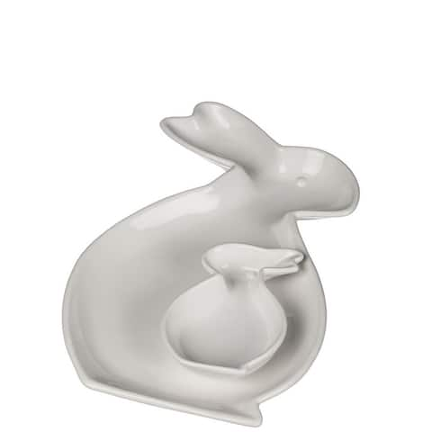 Decorative Bunny Chip And Dip Plate