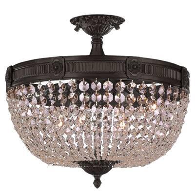 French Empire Basket 6-Light 20 in. Dark Bronze Crystal Semi Flush Mount Ceiling Light Large - Large Flush Mount