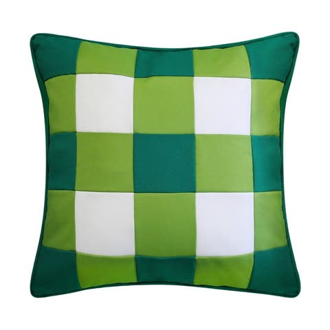 Edie at Home Outdoor Gingham Decorative Pillow, Green