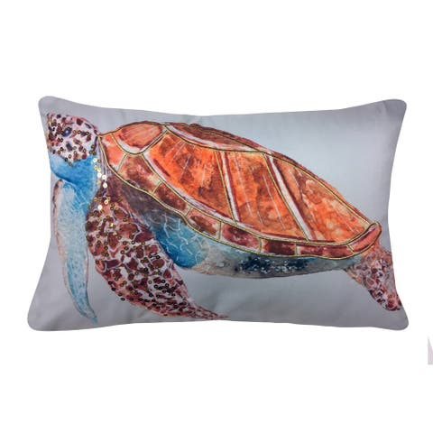 Porch & Den Karl Embroidered Sequined Turtle Outdoor Pillow