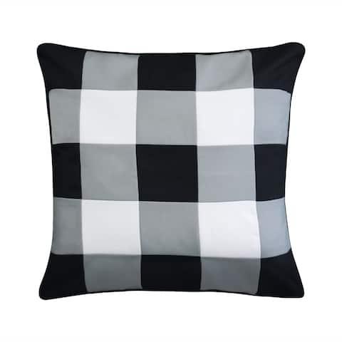 Outdoor Gingham Decorative Pillow, Black