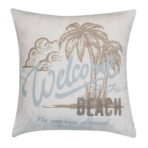 Edie at Home Beach Embroidered Printed Outdoor Pillow, Mineral/Grey