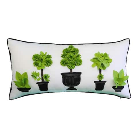 Edie At Home Outdoor Potted Topiary Decorative Pillow