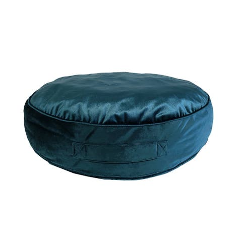 Edie at Home Velvet Round Floor Pillow, Teal