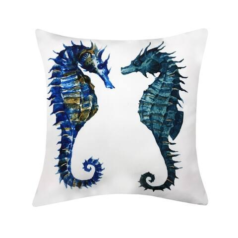 Porch & Den Braun Pair of Seahorses Printed Outdoor Pillow