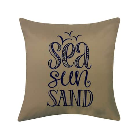 Edie at Home Embroidered Sea, Sun, Sand Outdoor Pillow, Khaki/Navy
