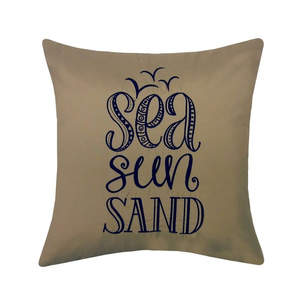 Edie at Home Embroidered Sea, Sun, Sand Outdoor Pillow, Khaki/Navy. Opens flyout.