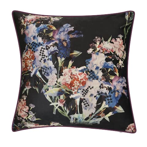 Edie at Home Iris Decorative Throw Pillow, Charcoal