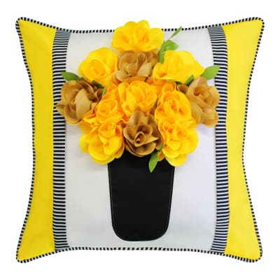 Edie at Home Outdoor Striped Floral Roses Decorative Pillow